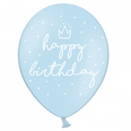 Globos Happy Birthday azul claro