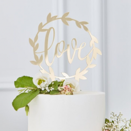 Decoración tarta dorado Love